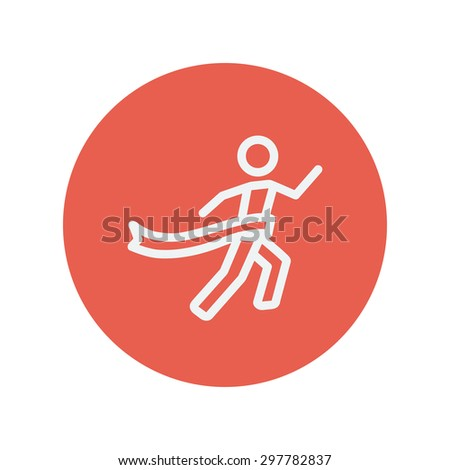 Winner crossed the finish line thin line icon for web and mobile minimalistic flat design. Vector white icon inside the red circle. - stock vector
