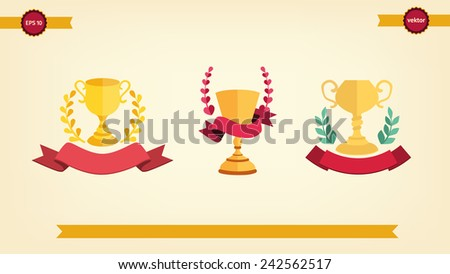 Winner crown and cup set , ribbon banner. Victory, champion icon in flat - stock vector