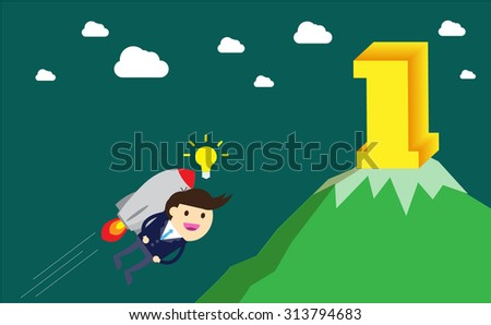 winner. finish. win. flat design. track. Success. goal. Target. rocket. Bulb Ideas. finance vision concept. Business Goals. dream. vector. infographics. number one. mountain. Businessman. air fly - stock vector