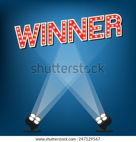 Winner label on stage with blue background - stock vector