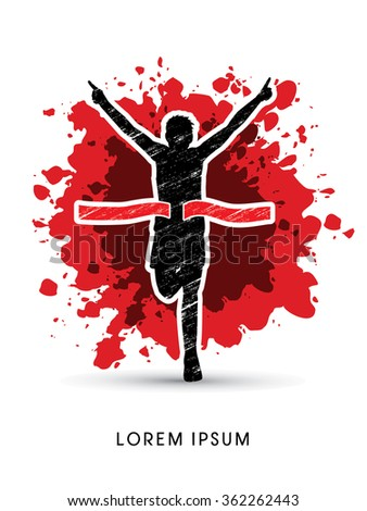 Winner Marathon Running, designed using grunge brush on splash blood background graphic vector. - stock vector
