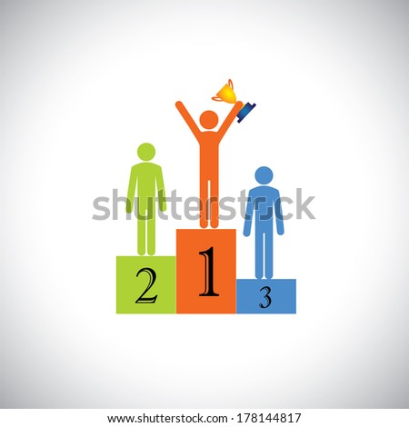 winner on podium with cup celebrating- success vector concept. This graphic illustration also represents achievement, superiority, best person in competition, beating rivals, reaching goal, contest - stock vector