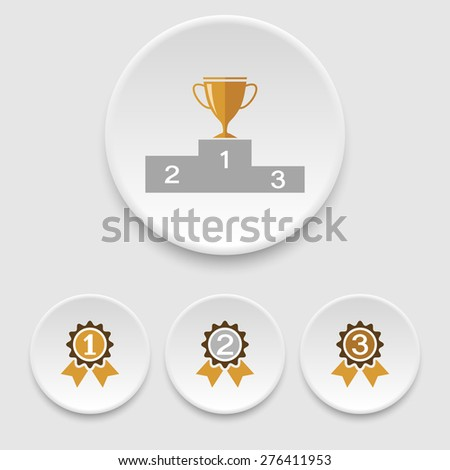 Winner podium, champion cup and awards icons - stock vector