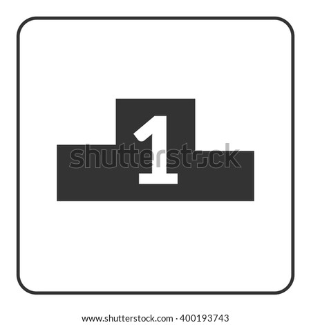 Winner podium icon. Prize pedestal. First, second, third place award champion or winner. Flat design symbol of platform, competition, victory. Black sign isolated white background. Vector illustration - stock vector