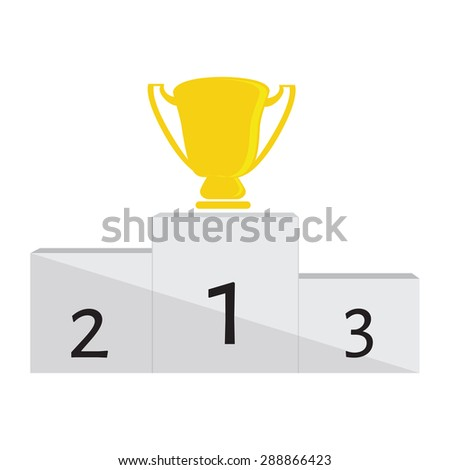 Winner podium with golden trophy cup for first place vector illustration. Winners stand - stock vector