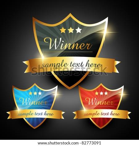 winner shiny golden vector label - stock vector