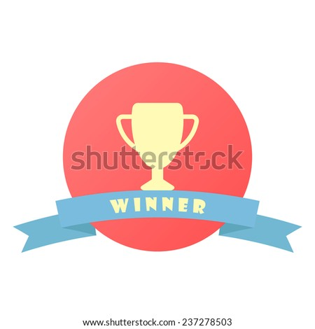 winner sign with ribbon. concept of victory and success. isolated on white background. flat design modern vector illustration - stock vector