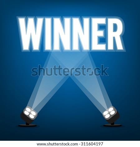 Winner signs with spotlight illuminate - stock vector
