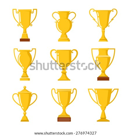 Winners cup. Set of different golden bowls. - stock vector