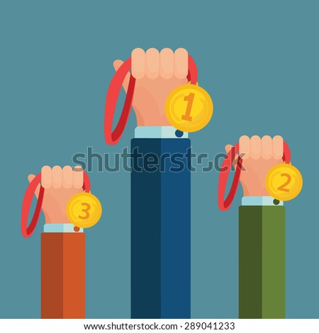 Winners hands holding winner victory golden  medals background vector illustration - stock vector