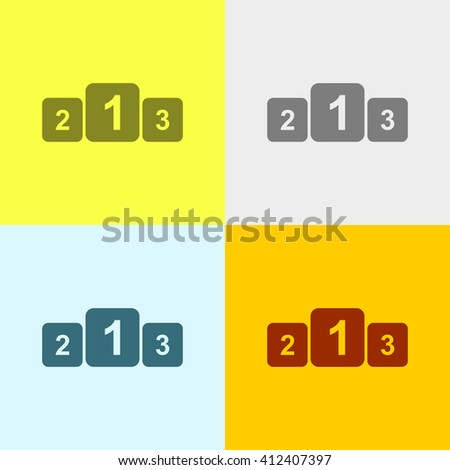 Winners Podium Icon on Four Different Backgrounds. Eps-10. - stock vector