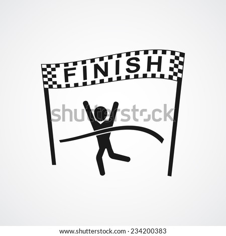 Winning Athlete crosses the finish line. Sport symbol or business concept . vector illustrations - stock vector