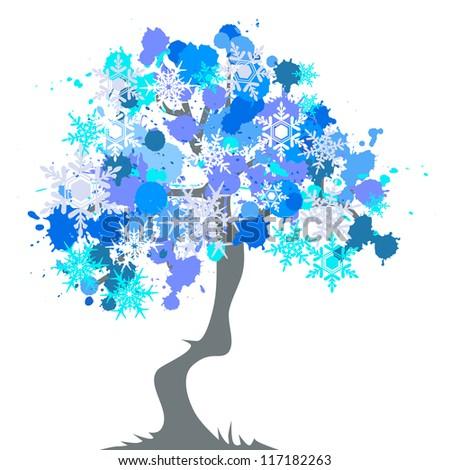 winter - abstract tree, blots - stock vector