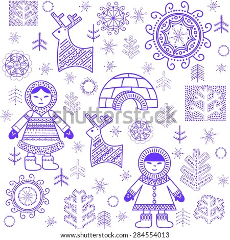Winter abstract wallpaper with Eskimo and igloo - stock vector