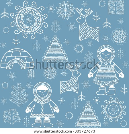 Winter abstract wallpaper with Eskimo, firs and igloo - stock vector