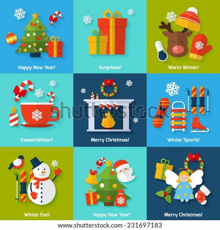 Winter and christmas concept set with happy new year surprise sports and fun elements isolated vector illustration - stock vector