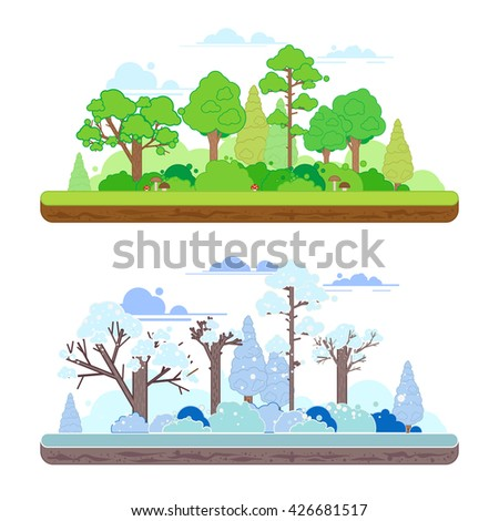 Winter and summer forest scenes in a  flat style. Two seasons concept with summer and winter landscapes .  - stock vector