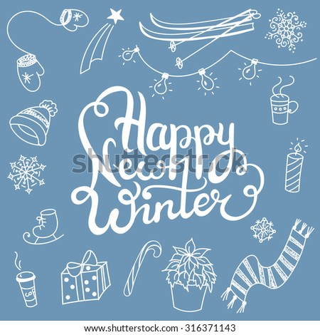 winter associations doodles and lettering about winter sports, christmas days,hot drinks, warm winter clothes - stock vector