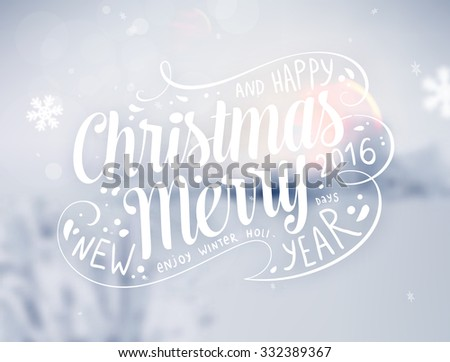 Winter Background. Blurred Landscape with Snow Drifts, Snowfall and Christmas Trees in the distance. Holiday Vector Illustration with Snowflakes, Sky and Xmas Label. - stock vector