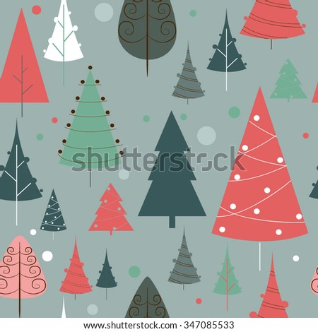 WInter background Christmas trees Vector seamless pattern - stock vector
