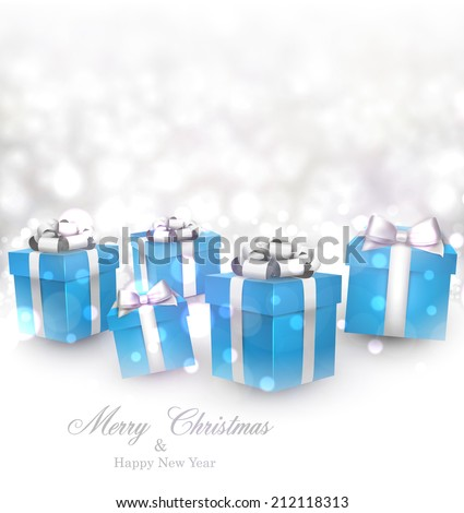 Winter background. Fallen defocused snowflakes. Christmas blue gifts. Vector illustration.   - stock vector