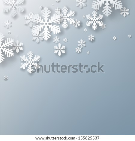 Winter background. Fallen snowflakes. Christmas. Vector.   - stock vector