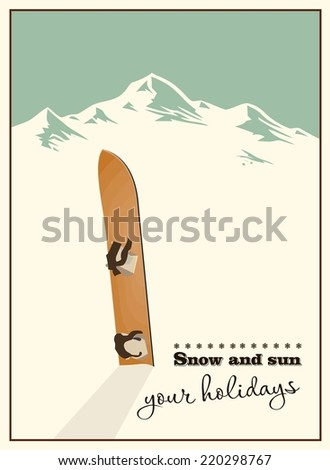 Winter  background. Mountains and old snowboard in the snow - stock vector