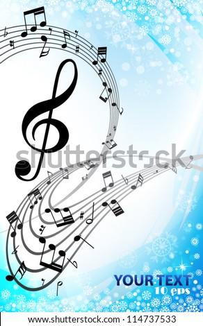 Winter background music - stock vector