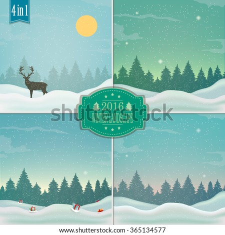 Winter background. New year and Christmas greeting card. Vector illustration. - stock vector