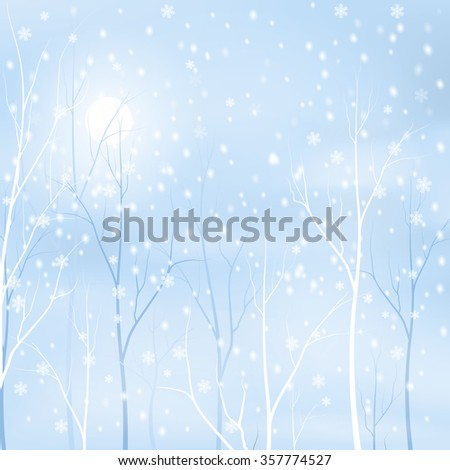 winter background - snowy trees and sun, vector illustration - stock vector