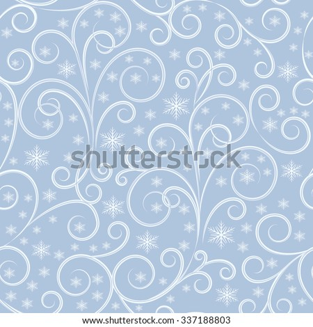winter background, white and grey swirl lines and white snowflakes on grey background, seamless pattern, vector illustration - stock vector