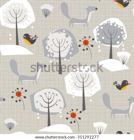 winter background with a ferret, trees and birds - stock vector