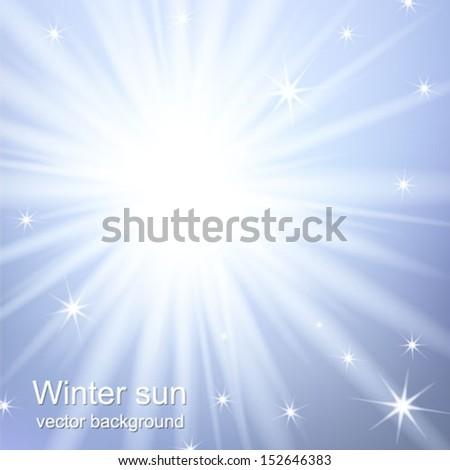 Winter background with a winter sun burst. Vector illustration. - stock vector