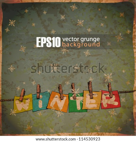 Winter background with banks on the rope. - stock vector