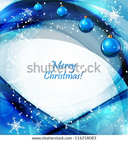 winter background with beautiful various snowflakes and christmas balls - stock vector