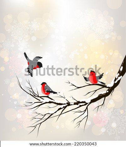 Winter background with birds. Place for text.  - stock vector