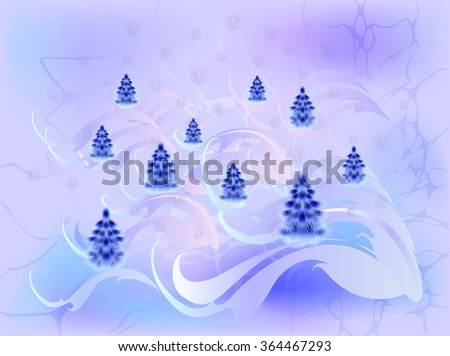 Winter background with blue Christmas trees. EPS10 vector illustration. - stock vector