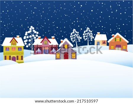 Winter background with cartoon houses  - stock vector