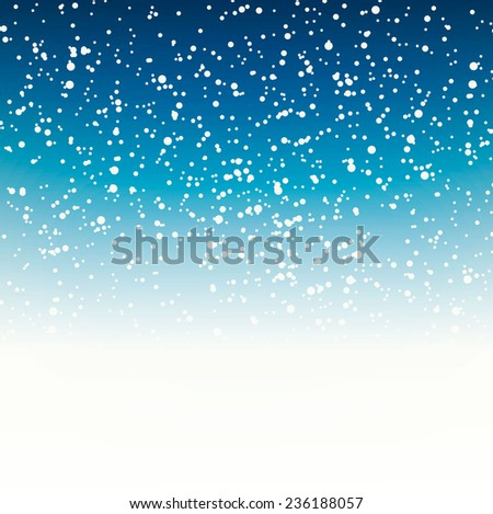 Winter background with falling snow, vector illustration - stock vector