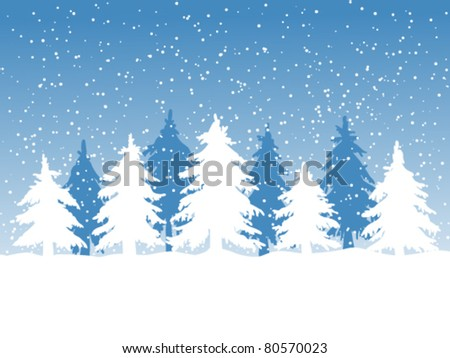 Winter background with fir trees and falling snow - stock vector