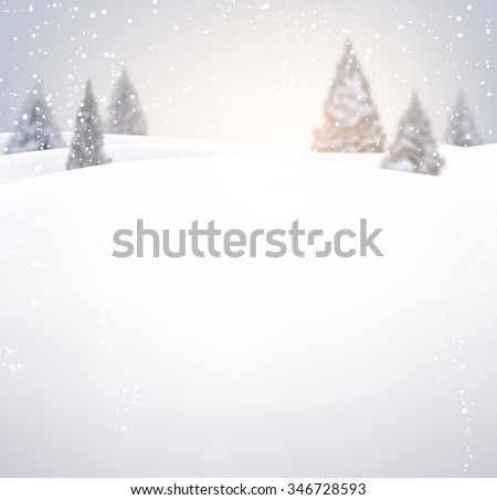 Winter background with fir-trees. Vector illustration. - stock vector