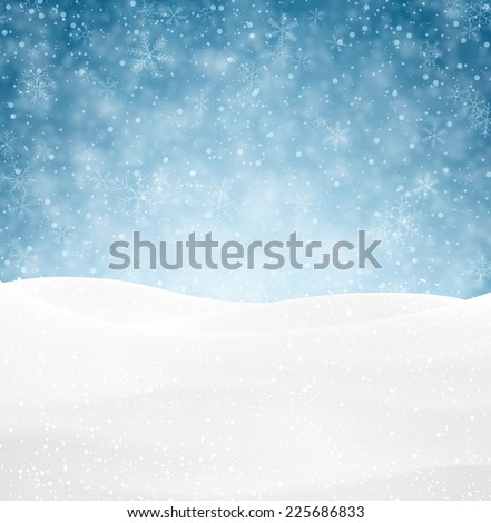 Winter background with snow. Christmas snow surface. Eps10 vector illustration.  - stock vector