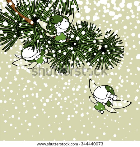 Winter background with snow fairies - stock vector