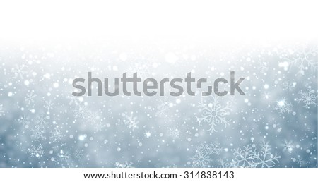 Winter background with snowflakes and place for text. Christmas blue defocused illustration. Eps10 vector.  - stock vector