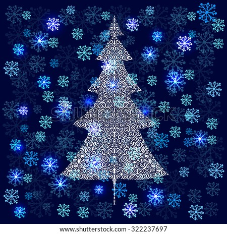 Winter background with snowflakes and spruce tree. Vector illustration. - stock vector