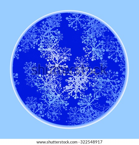 Winter background with snowflakes in circle. Vector illustration. - stock vector