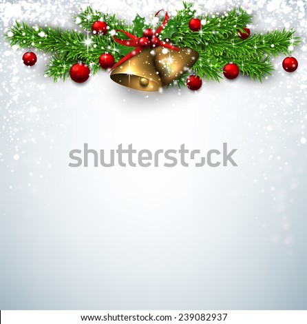 Winter background with spruce twigs and red baubles. Golden bells. Christmas vector illustration. Eps10.  - stock vector