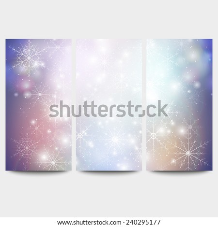 Winter backgrounds set with snowflakes. Abstract winter pattern, vector. - stock vector