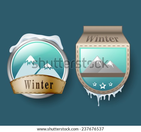 Winter badge set with mountains - stock vector