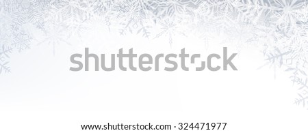 Winter banner pattern with crystallic transparent snowflakes and place for text. Christmas background. Vector. - stock vector